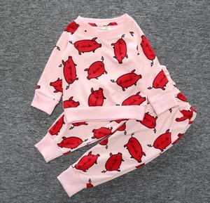 8sets / lot (kann Arten mischen) Art und Weise lang Hülsen-Babykleidungsätze Baumwollkinder kleidet heiße Verkaufskinder, die Sätze der Kleidung 6 für wählen, wählen