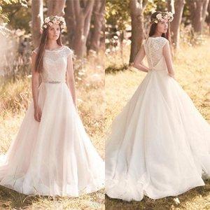 Plus Size Modest Boho Brautkleider A Line Scoop Vintage Spitze Weiß Elfenbein Farbe Plus Size Land Böhmische Brautkleider