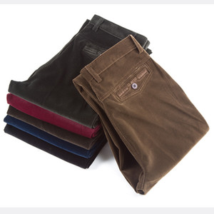 Wholesale- Wholesale autumn and winter thick section corduroy men's casual pants loose middle-aged corduroy trousers straight long pants pl