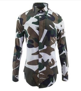 ربيع جديد الرجال مصمم العلامة التجارية قمصان رجالي مطبوعة التمويه العسكري عارضة قميص الرجل يتأهل الملابس حجم كبير