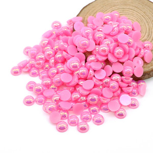 ABS Flatback Half Pearl Beads Peach AB Flat Back Redondo Craft Half Pearls Diy Pegamento En Cuentas Para Decoración, 500-5000PCS / PACK