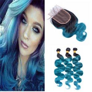 Deux tons 1B Blue Ombre Virgin Bundles de cheveux avec fermeture en dentelle Dark Root Body Wave Tissage cheveux avec fermeture 4 * 4 en dentelle