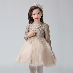 2017 New Arrival Long Sleeves Lace Champagne Flower Girls Dresses Ball Gown Soft Tulle Lace Top Zipper Back Girls Party Dress Cheap