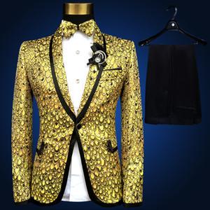 Wholesale- Goldklage Lastest Mantel Hose Entwurf Pus Größe 4xl 5xl 6xl Kostüm Homme Hochzeitsanzüge für Männer Anzug Bühne Smoking Gold Silber Blau