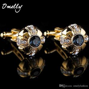 Gemelos de piedra de circón de oro Gemelos de cristal Gemelos de diamantes de imitación Gemelos de alta calidad para regalo de boda Corazón para hombre