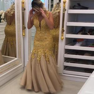 2017 Profundo escote en v Sirena Vestidos de noche Elegante vestido de fiesta de encaje de oro Ilusión Volver Vestidos para eventos especiales Vestido