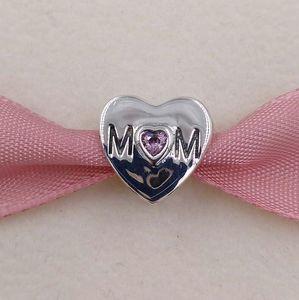 Anneler Günü 925 Gümüş Boncuk Anne Kalp Charm Avrupa Pandora Stil Takı Bilezikler Kolye 791881PCZ Anne Hediye uyar