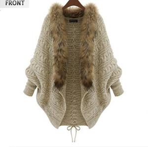 femmes manches chauve-souris col de fourrure de manteau pull gilet en tricot beige automne et l'hiver nouvelle grande taille vente chaude