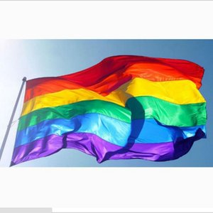 Rainbow Flag 3x5FT 90x150cm Lesbian Gay Pride Polyester LGBT Flag Banner Polyester Colorful Rainbow Flag For Decoration