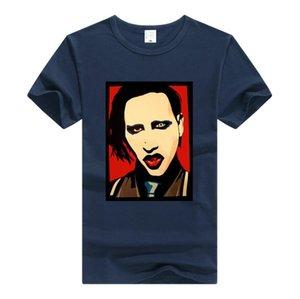 Moda Marilyn Manson Ptinting Tee Gotik Metal Rock Grubu Erkekler ve Kadınlar için Kısa Kollu T-shirt Gevşek