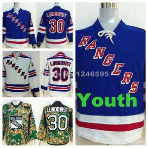 2016 New, Youth 뉴욕 레인저스 저지 키즈 # 30 Henrik Lundqvist 저지 청소년 홈 Royal Blue Road 흰색 Henrik Lundqvist Hockey Jerseys