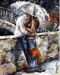 Amanti del mosaico baciano, pittura a olio astratta dipinta a mano pura di arte di scena su tela di canapa di alta qualità che spedice liberamente, multi misura su misura Ab002