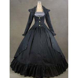 Falda estilo de la hoja de loto Falda Hermosa Botones Retro Cosplay Vestido de fiesta Moda Gothic Lolita Simple vestido largo 2017 Foto real