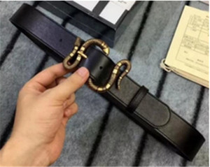 2018 High-end Black Belt Top quality 38mm Belt Famous Brand Real Leather Snake Buckle Belt For Men Women With Gift Package