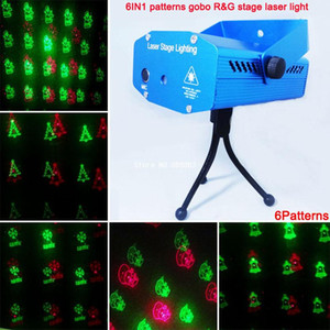 Wholesale-new mini Red Green Laser 6 patterns Christmas projector Party DJ Lighting lights Disco bar Dance xmas stage Light show XL79 free