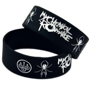 50PCS 1 Zoll breit My Chemical Romance Silikon-Kautschuk-Armband Schwarz Größe für Förderung-Geschenk