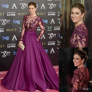 Purple A Line Evening Dresses Long Sleeves Sheer Jewel Neck Celebrity Dresses For Red Carpet with Beaded Appliques Formal Evening Gowns 2017