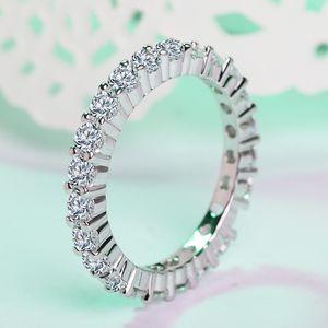 Vecalon 2 couleurs bande Bijoux femmes Bague 3mm diamant Cz argent sterling 925 Party bague de mariage pour les femmes hommes