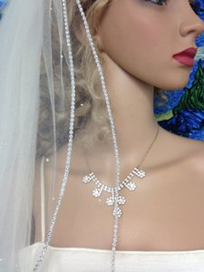 Two layer White ivory Wedding Veil Rhinestones edge Fingertip Legth with comb Bridal veil 901pp