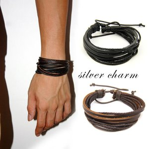 Herren Armbänder Wrap Mehrschichtige echtes Leder-Armband mit geflochtenen Seil Fashion Jewelry Weihnachten Charm Bracelets