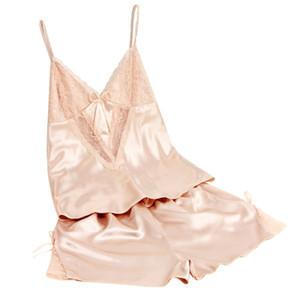 Wholesale- Women's Sexy Babydoll Sleepwear Satin Lace Lingerie Robe Shorts Pajamas Set Summer Cool