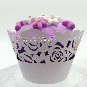 Favores do casamento rose Laser corte Lace Cup Cake Invólucro Cupcake Wrappers Para Festa de Aniversário de Casamento Decoração 12 pc por lote