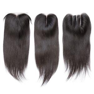 Fermeture de dentelle droite Blanchie Nœurs Brésilien Droite Holy Hair Fermeture Free Moyen 3 Partie 100% Cheveux humains