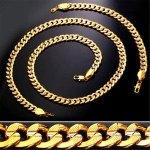 9MM chaîne en or pour hommes / femmes platine / or 18 carats plaqué or deux tons chaîne collier bracelet ensemble