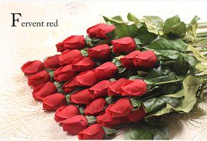 Venta al por mayor a 2015 nuevos 1PCS real táctil boda de Rose de seda del brote flores artificiales ramo Inicio decoraciones para fiesta de boda o cumpleaños