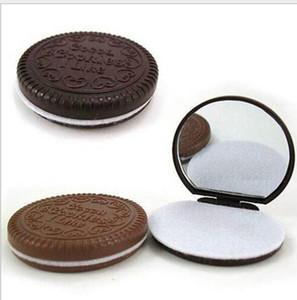 Mini specchio portatile portatile Mini Cute Cacao Cookies Specchio compatto con il trucco del pettine Make up Strumenti 2 Colori di alta qualità