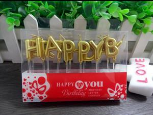 Estilo europeo Decoración de la torta de cumpleaños Home Party Use Oro / Plata / multicolor FELIZ CUMPLEAÑOS Candle Cake Candles
