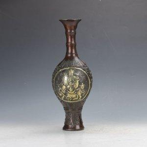 Bronzo antico cinese lavorato a mano con motivi floreali The God Of Wealth Motif Vaso C404