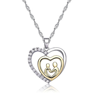 New Love heart Pendant Necklaces Zircon Crystal Water Drop pendant Charm for mother's day gift pendant necklace free shipping