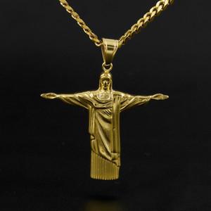 Хип-хоп Искупитель Иисус крест кулон из нержавеющей стали статуя Иисуса Христа в Рио-де-Жанейро Бразилия Кристо Редентор бесплатно цепи