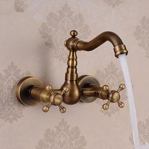 Toptan ve Perakende Banyo Havzası Musluklar Antik Pirinç Fırçalanmış Bronz 2 Kolu Duvara Monte Sıcak Soğuk Mikser Tuvalet Lavabo Musluklar ABMPL002