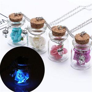 Collier en argent lumineux Souhaitant bouteille en verre de cristal Colliers Pendentifs fleurs Bijoux Accessoires Luminous Gem pendentif pour les femmes de Noël