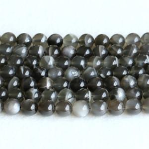 """Echte echte natürliche Black Moonstone Blitzlicht Runde lose Edelsteinkugel Perlen 6mm 8mm 10mm 12mm 15 """"05146"""