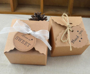 Brown Kraft caja de papel del regalo del partido Favores de la boda caramelo hecho a mano jabón joyería embalaje Vintage cajas etiqueta en blanco escribir por ti mismo