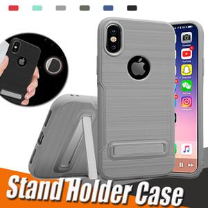 Hibrit Zırh Fırçalı Standı Tutucu Arka Kapak ile Kickstand 2'si 1 arada TPU Koruyucu Kılıf iPhone X 8 7 Artı 6 6S Samsung S8 S7 Not 8
