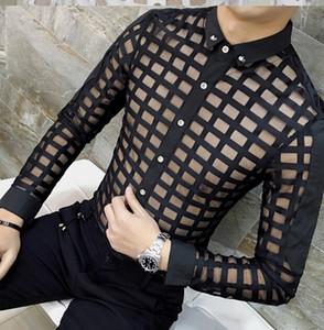 Camisa Ocasional para Homens Moda Rendas Ver Através Mantas Camisas Camisa Masculina Roupas Roupas Tops para Homem Único Breasted Frete Grátis
