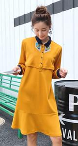 Solapa de las mujeres de manga larga de lactancia ocasional suelta ropa de maternidad Vestido de las mujeres embarazadas tamaño M L XL DXW145