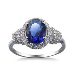 Round Sapphire Zircon CZ Gemstone 10KT Gold Filled Promise Ring Wedding Party Finger Rings Sz6-10 HOT