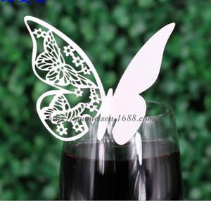 Décoration de fête Carte de verre à vin Papillon Laser Holow Autres articles de fête