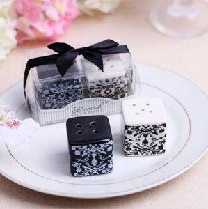 Wholesale- 1Set Cube Ceramic Spice Jars Box condimento Cucina Condimento Spezie Storage Bottle Ribbon Forniture per feste di nozze Strumenti di cottura