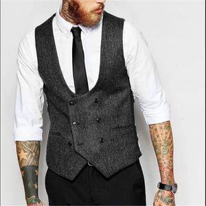 Venda por atacado- Double Breasted homens cor sólida Slim Fit colete Plus Size S-4XL Vintage moda masculina Blazer Vest homens de roupas de marca coletes A2672