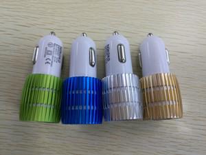 Réel 1A double chargeur de voiture USB lumière bleue allume en aluminium alliage en métal adaptateur pour téléphone intelligent 100PCS / LOT