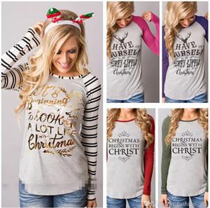 Kadınlar Noel Uzun Kollu Tişörtleri Mektuplar Baskılı Elk Çizgili Renkler Patchwork O-Boyun Dibe Moda Tees Tops