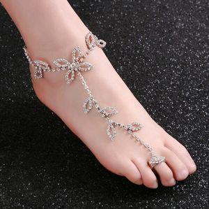 Mode mariée strass pied chaîne cheville toe argent charmes feuille trèfle dessins bijoux de corps pour le mariage de plage en gros