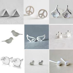 100 adet Ücretsiz kargo 925 Gümüş Kaplama Küpe Yaratıcı Şekil Koyun Yıldız Kulak Damızlık Kore Tarzı Yunus Kuş Sevimli Şekil Küpe kulak damızlık