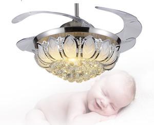 Modern minimalist LED kristal stealth fan lambası 42 inç tavan fanı ışık avize tavan fanı yatak odası oturma odası ile restoran LLFA